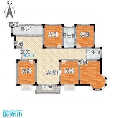 东方花园522.20㎡H户型5室2厅2卫1厨