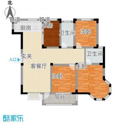 东方花园416.20㎡I户型4室2厅1卫2厨