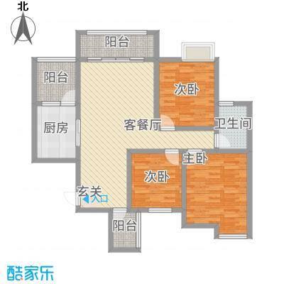 永川金域蓝湾二期5.16㎡二期12栋标准层F1户型3室2厅1卫1厨