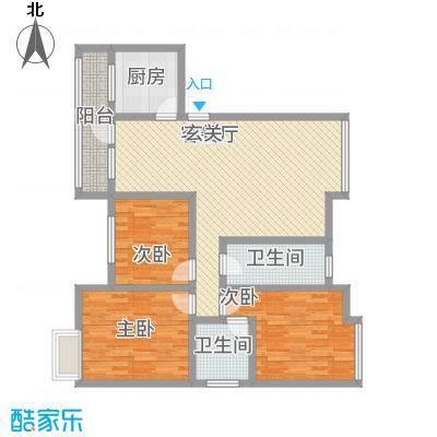 永川金域蓝湾二期二期12栋标准层F3户型3室2厅2卫1厨
