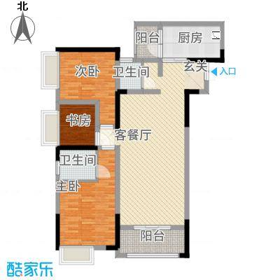 欣光・名车广场122.71㎡一期1号楼标准层A户型3室2厅2卫1厨
