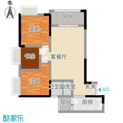 欣光・名车广场13.54㎡一期1号楼标准层B户型3室2厅1卫1厨