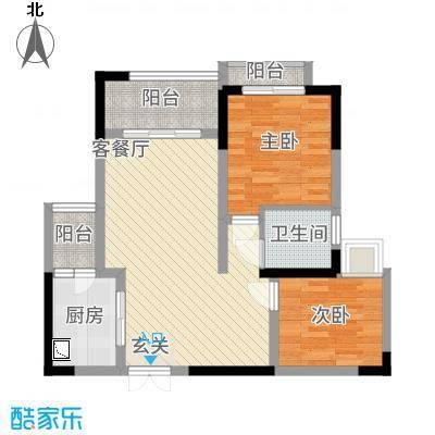 欣光・名车广场7.74㎡一期1号楼标准层D户型2室2厅1卫1厨