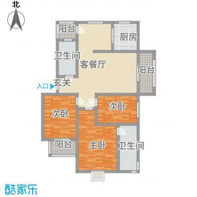 广联翠屿12.20㎡世家名门D3户型3室2厅2卫1厨