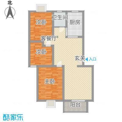 广联翠屿1.20㎡望族名邸D2户型3室2厅1卫1厨