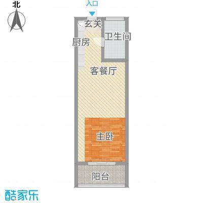 广联翠屿62.20㎡青年公馆G2户型1室1厅1卫1厨