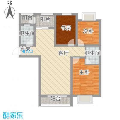 京都公馆112.20㎡一期1号楼J户型3室2厅2卫1厨