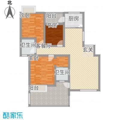 景勐仑・悦城116.45㎡6_conew1户型3室2厅2卫