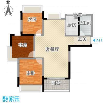 仁盛世纪星城118.42㎡E1户型3室2厅1卫
