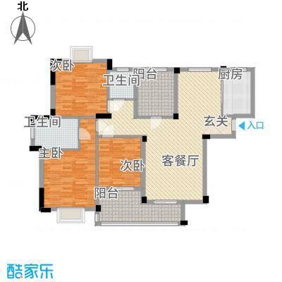 现代明珠新城加州国际128.20㎡13044GM4-L户型3室2厅2卫1厨