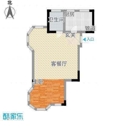 高成上海假日75.51㎡A型户型1室1厅1卫1厨