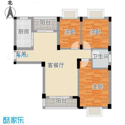 现代明珠新城加州国际1.20㎡户型3室2厅1卫1厨
