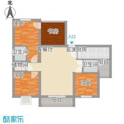 宏帆・观湖37.20㎡E户型3室2厅1卫1厨