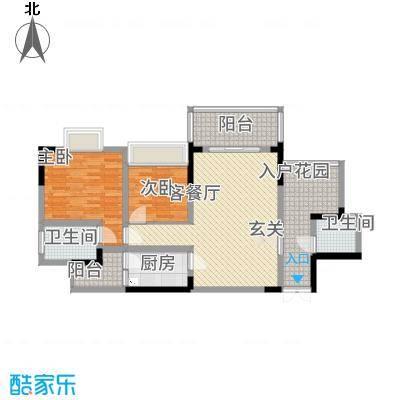 龙湾南湖MOCO31.22㎡三期3、4号楼标准层1、4号房户型2室2厅2卫1厨