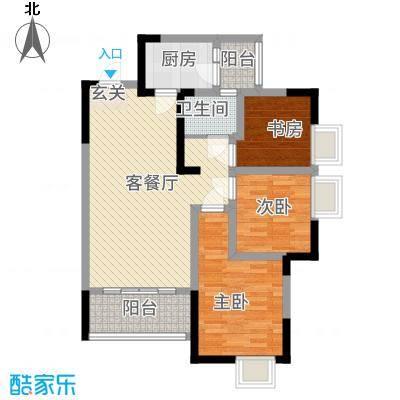 綦江金域蓝湾一期4号楼标准层B户型3室2厅1卫1厨