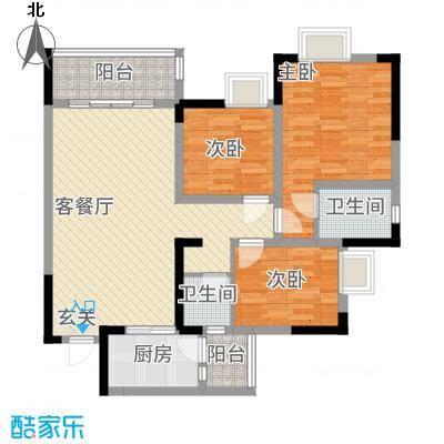 綦江金域蓝湾14.15㎡一期2号楼标准层E户型3室2厅2卫1厨