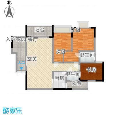 龙湾南湖MOCO312.22㎡三期3、4号楼标准层2、3号房户型3室2厅2卫1厨