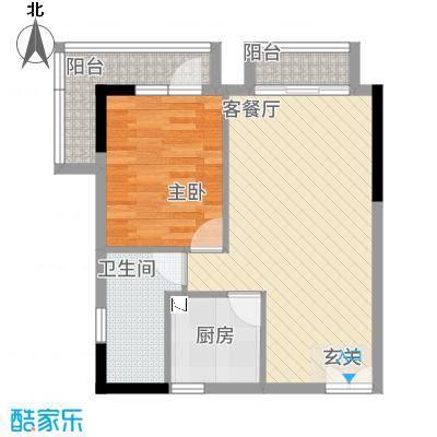 庆隆南山高尔夫玺馆51.21㎡C型户型1室2厅1卫1厨