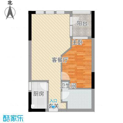 庆隆南山高尔夫玺馆51.83㎡B型户型1室2厅1卫1厨