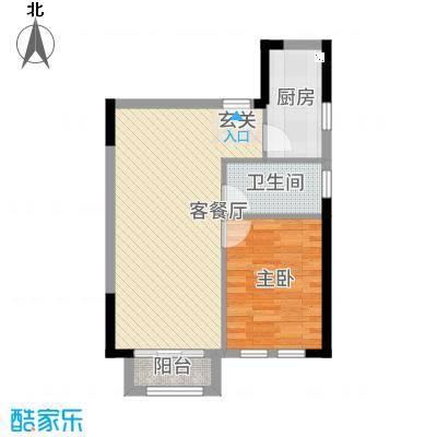 庆隆南山高尔夫玺馆48.00㎡D型户型1室2厅1卫1厨