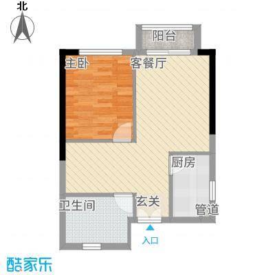 庆隆南山高尔夫玺馆46.43㎡A型户型1室1厅1卫1厨