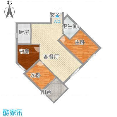 尚湖中央花园122.20㎡K户型3室2厅1卫1厨