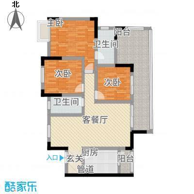 月源山水2116.78㎡一期2栋1单元标准层C3室户型3室2厅2卫1厨