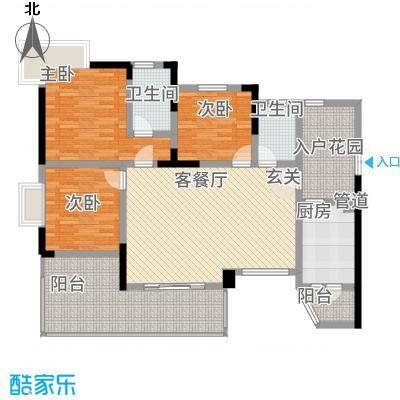 月源山水2113.85㎡一期2栋1单元标准层B3室户型3室2厅2卫1厨