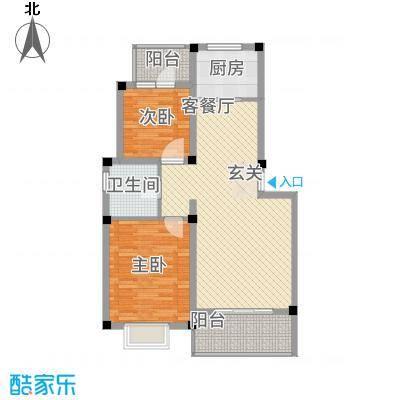 全华顺景苑88.46㎡D户型2室2厅1卫1厨