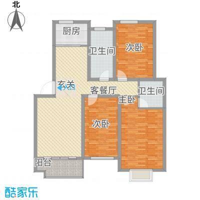 全华顺景苑123.00㎡B户型3室2厅2卫1厨