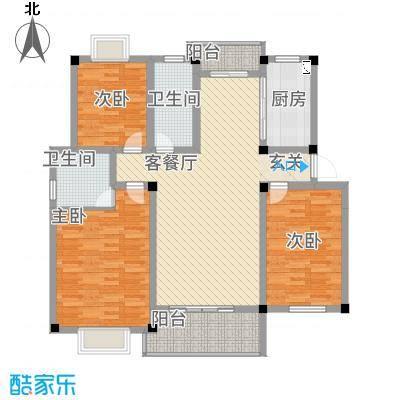 全华顺景苑12.44㎡C户型3室2厅2卫1厨
