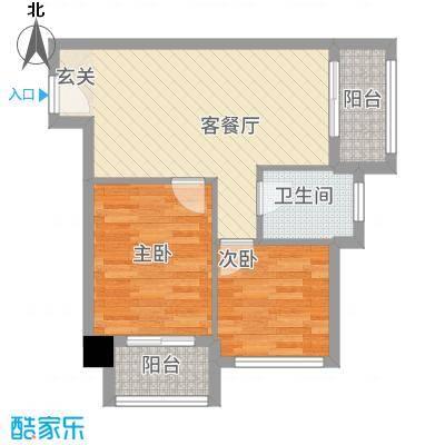 东方丽池62.80㎡户型