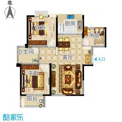 圣联香御公馆94.00㎡户型2室2厅1卫-副本