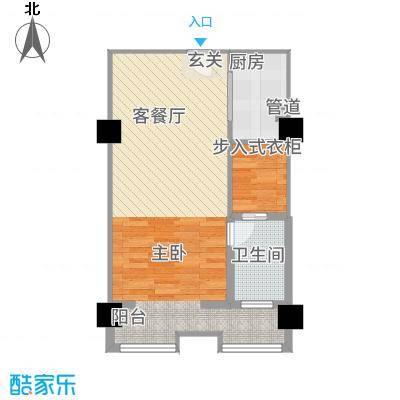 卡布其诺68.00㎡三期16#楼4-21层C户型1室2厅1卫1厨