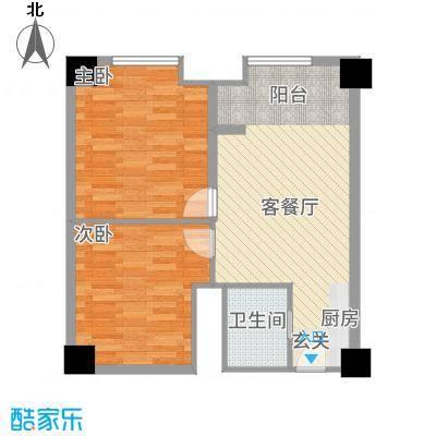 卡布其诺78.00㎡三期16#楼4-21层D户型2室2厅1卫1厨