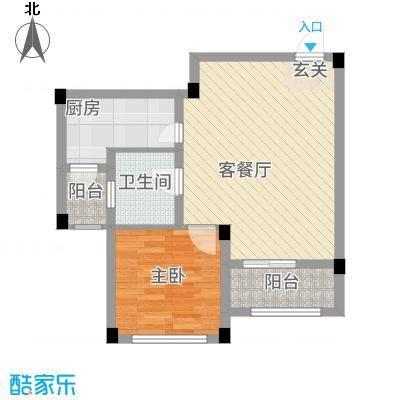 龙隐水庄68.00㎡C2户型1室2厅1卫1厨