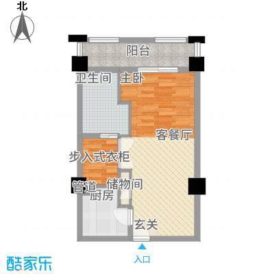 卡布其诺68.00㎡三期16#楼4-21层C户型1室1厅1卫1厨
