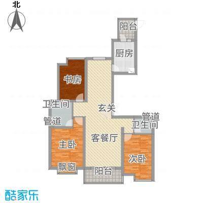 裕坤国贸广场13.20㎡户型3室2厅2卫