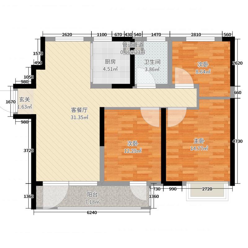 中欧国际城104.00㎡d户型3室3厅1卫1厨