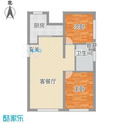 保利香槟国际7.55㎡3号楼3-12层B8户型2室2厅1卫1厨-副本