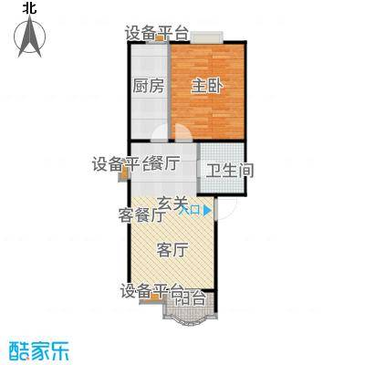 美然绿色家园58.80㎡10号楼一室一厅一卫户型
