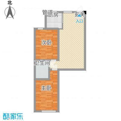 晟宝龙广场82.28㎡13#14#高层M户型2室2厅1卫1厨