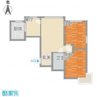 晟宝龙广场88.30㎡12#13#14#河景高层J户型2室2厅1卫1厨