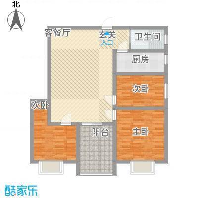 鼎福花园16.66㎡1#楼A2户型3室2厅1卫1厨