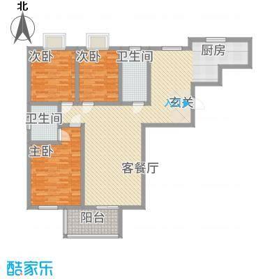鼎福花园142.27㎡1#楼A1户型3室2厅2卫1厨