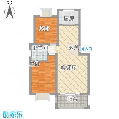 渝水华庭户型2室2厅1卫1厨