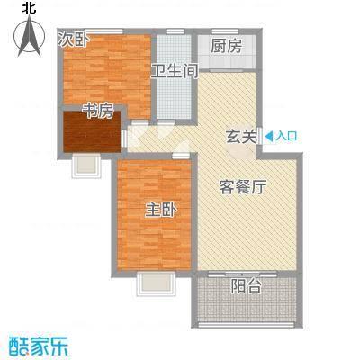 鼎福花园18.00㎡2#楼B1户型3室2厅1卫1厨