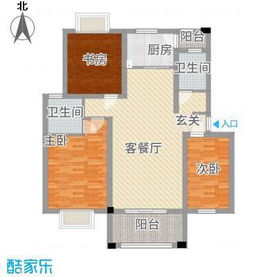 绿江南15.00㎡C户型3室2厅2卫1厨