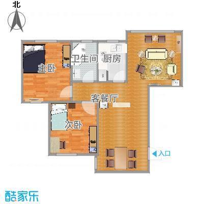 90方A1户型两室两厅-副本