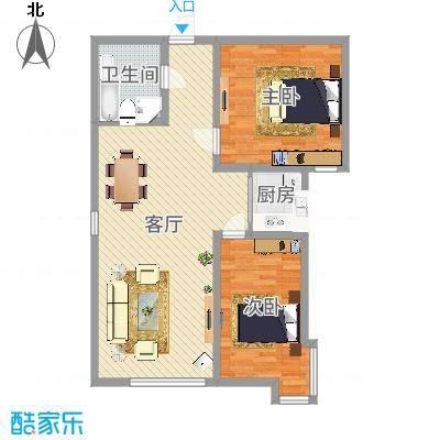 海旺家园二期112.20㎡户型2室2厅1卫1厨-副本